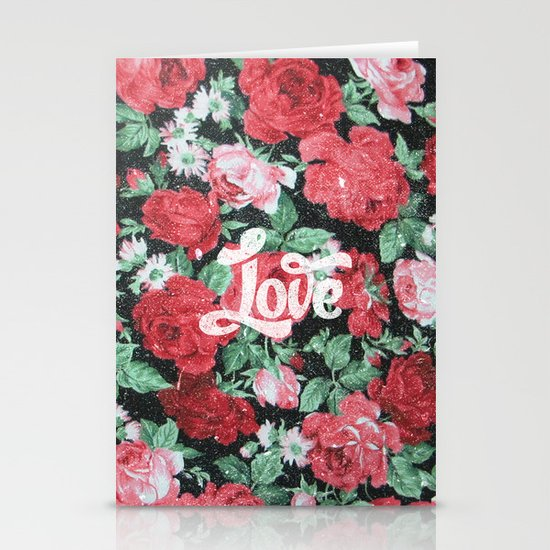 Red Pink Roses Chic Love Vintage Floral Pattern Stationery Card