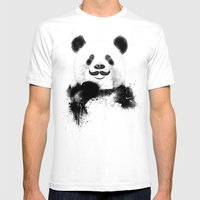 Funny Panda Mens Fitted Tee White SMALL