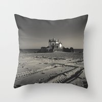 Beach Chapel (B&W) Throw Pillow