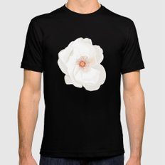 White flowers SMALL Black Mens Fitted Tee