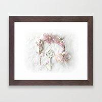 Shabby Cottage Romantic Pink White Peony Skeleton Key Art Framed Art Print