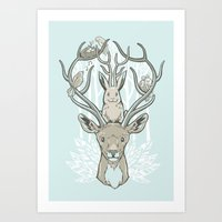 Friends & Birds Art Print