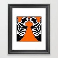 Two Face Zebra Framed Art Print