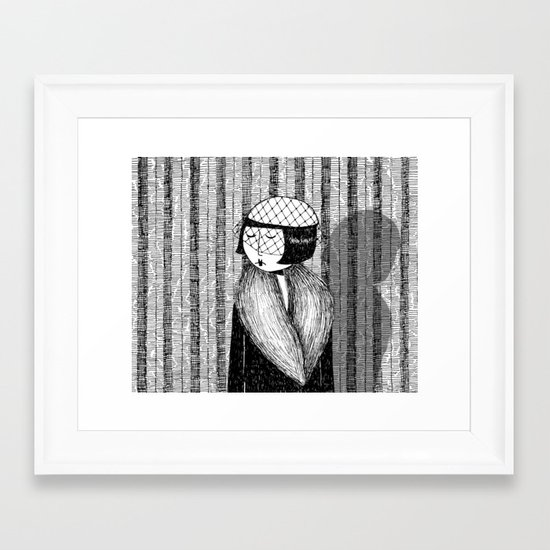 She thought of her cats and wished she was home Framed Art Print