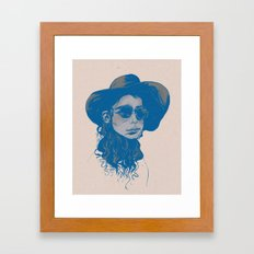 Woman in Hat and Sunglasses Framed Art Print