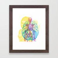 Brain Skeleton Framed Art Print