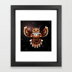 Surreal Owl Metallic Flying on the Night 3d Framed Art Print
