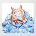 Happy Cat Drinking Hot Chocolate Canvas Print