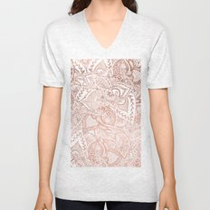 Chic hand drawn rose gold floral mandala pattern Unisex V-Neck