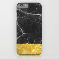 iPhone Cases featuring Black Marble and Gold by cafelab