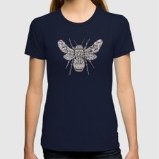 Ornate Bumblebee Womens Fitted Tee Navy SMALL