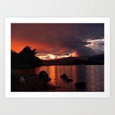 Loch Rannoch Blazing Sunset Art Print