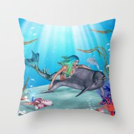 The Mermaid And The Dolp… Throw Pillow