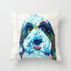 Bearded Collie Art - Dog Portrait by Sharon Cummings Throw Pillow