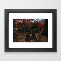 Cemetery Red Framed Art Print