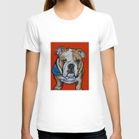 Johnny the English Bulldog Womens Fitted Tee White SMALL