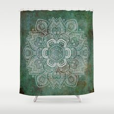 Silver White Floral Mandala on Green Textured Background Shower Curtain