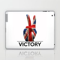 Hand making the V sign united kingdom country flag painted Laptop & iPad Skin