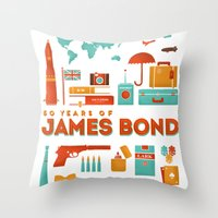 James Bond 50 Years  Throw Pillow