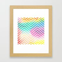 Bright Abstract Watercolor 1 with Chevrons Framed Art Print