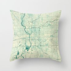 Indianapolis Map Blue Vi… Throw Pillow