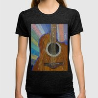 Guitar Sunshine Womens Fitted Tee Tri-Black SMALL