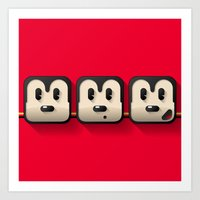Faces Of Mickey Mouse Art Print