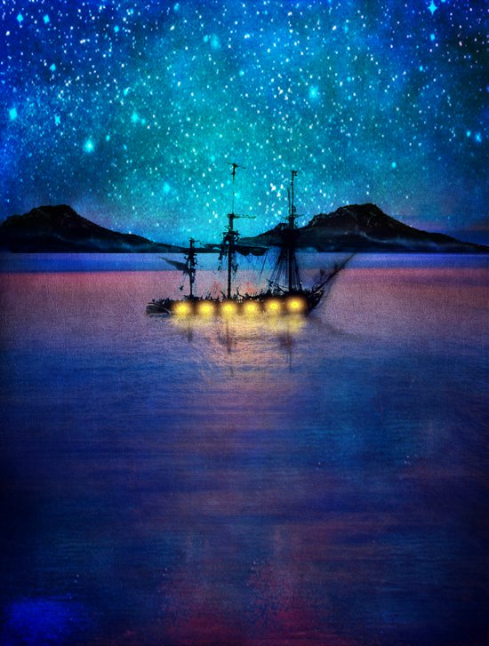 Ship in the lights Art Print