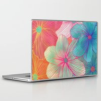 orange Laptop & iPad Skins featuring Between the Lines - tropical flowers in pink, orange, blue & mint by micklyn