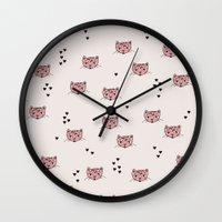 Cute kitty cat love illustration leopard pattern Wall Clock