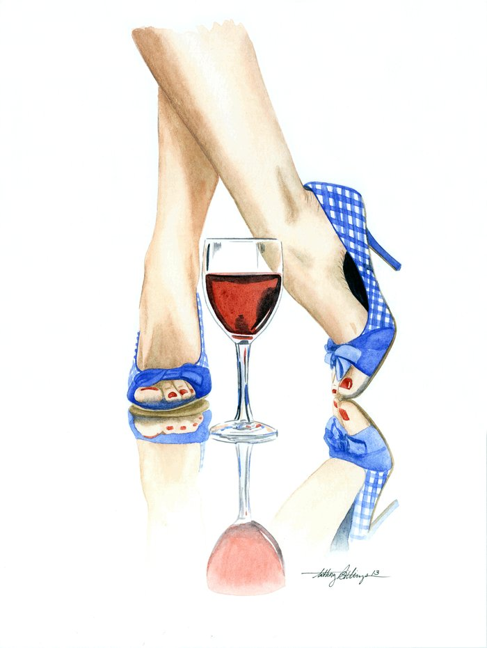 Wine & Heels Art Print by Anthony Billings | Society6
