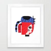 BLUE CAT ON HEAD Framed Art Print