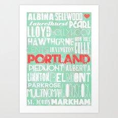 Portland Oregon Neighborhoods in Teal Art Print