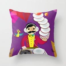 DJ Moustache  Throw Pillow