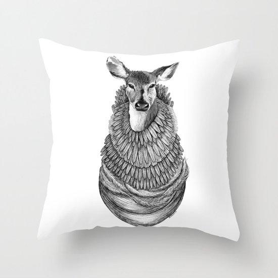 Feathered Deer.  Throw Pillow