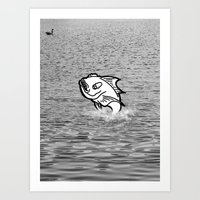 Art Print featuring Fish Out of Water by Gnarleston