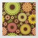 Folk flowers and leaves in brown Canvas Print