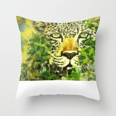 Wildlife Painting Series 3 - Leopard in preying pose Throw Pillow