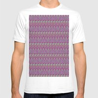 Multicolor Aztec pattern Mens Fitted Tee White SMALL