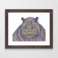 Hippie-Potamus (Multicol… Framed Art Print
