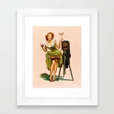 Vintage Camera Pinup girl  Framed Art Print