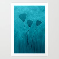 Tall Poppies -Blue Art Print