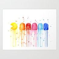 Art Print featuring Retro Rainbow by Olechka