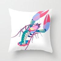 Pink Lobster Throw Pillow