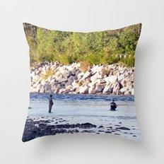 Salmon Fishing Throw Pillow