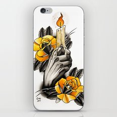 Hand holding CANDLE - tattoo iPhone & iPod Skin