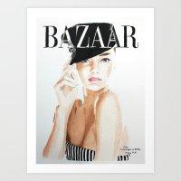 Harper's Bazaar Magazine Cover. Miranda Kerr. Fashion Illustration Art Print