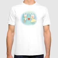 Bunny Hearts Mens Fitted Tee White SMALL