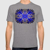Blue Starburst Mens Fitted Tee Tri-Grey SMALL