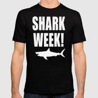 Shark week (on black) Mens Fitted Tee Black SMALL